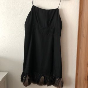 Juicy Couture black mini dress with feathers